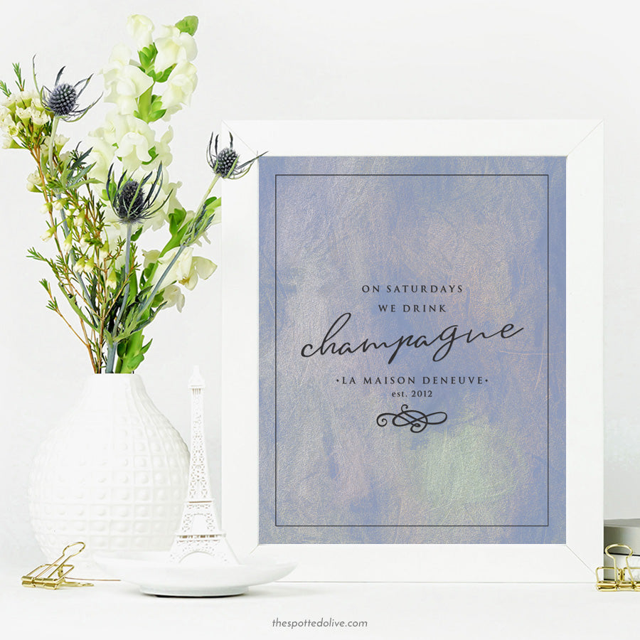 On Saturdays We Drink Champagne Personalized Art Print by The Spotted Olive - Scene