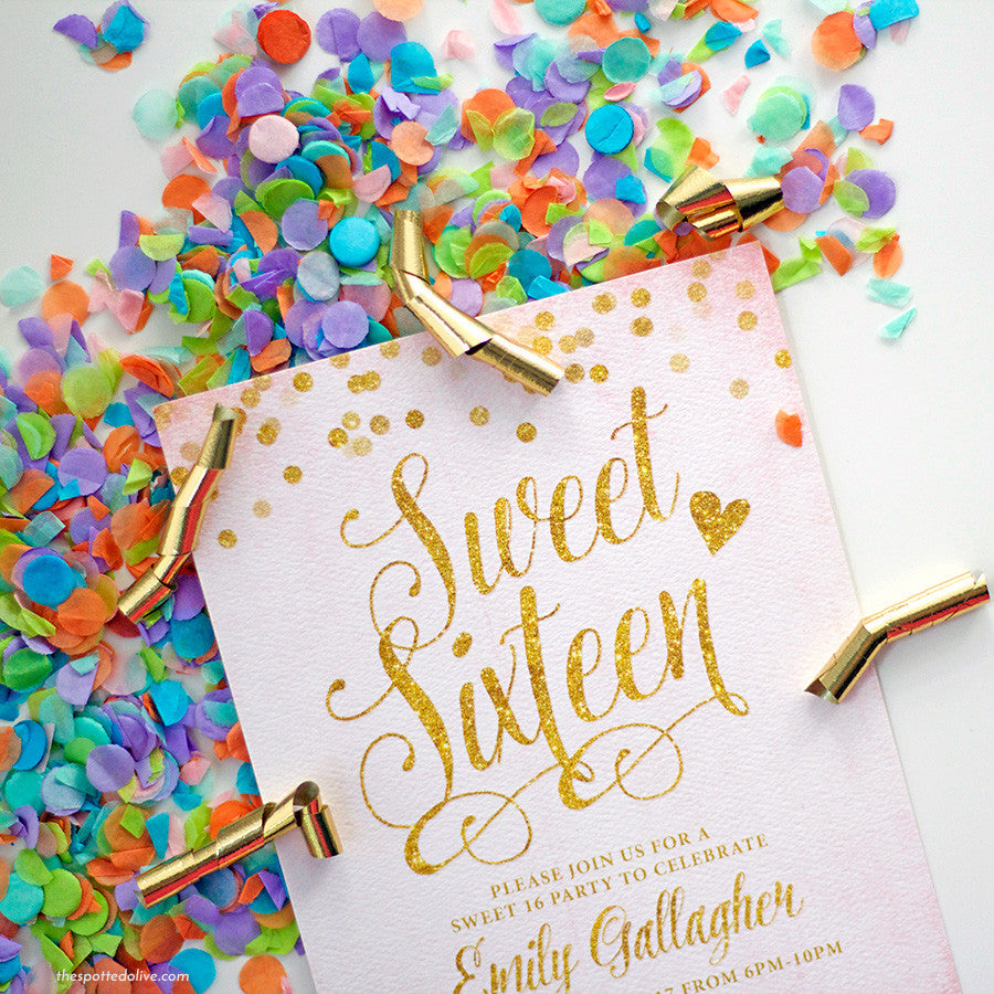 Blush Pink & Gold Confetti Sweet 16 Invitations by The Spotted Olive - Scene