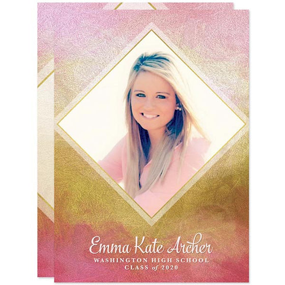 Pink & Gold Diamond Photo Graduation Announcements by The Spotted Olive