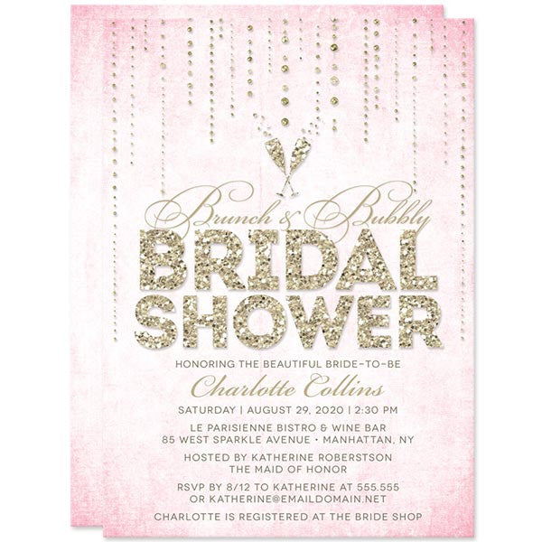 Pink & Gold Streaming Gems Brunch & Bubbly Bridal Shower Invitations by The Spotted Olive