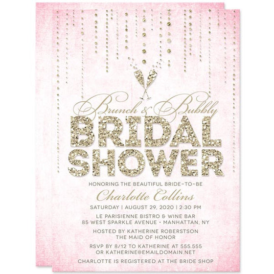 Pink gray marble bridal shower invitations the spotted olive pink gold streaming gems brunch bubbly bridal shower invitations by the spotted olive filmwisefo Images