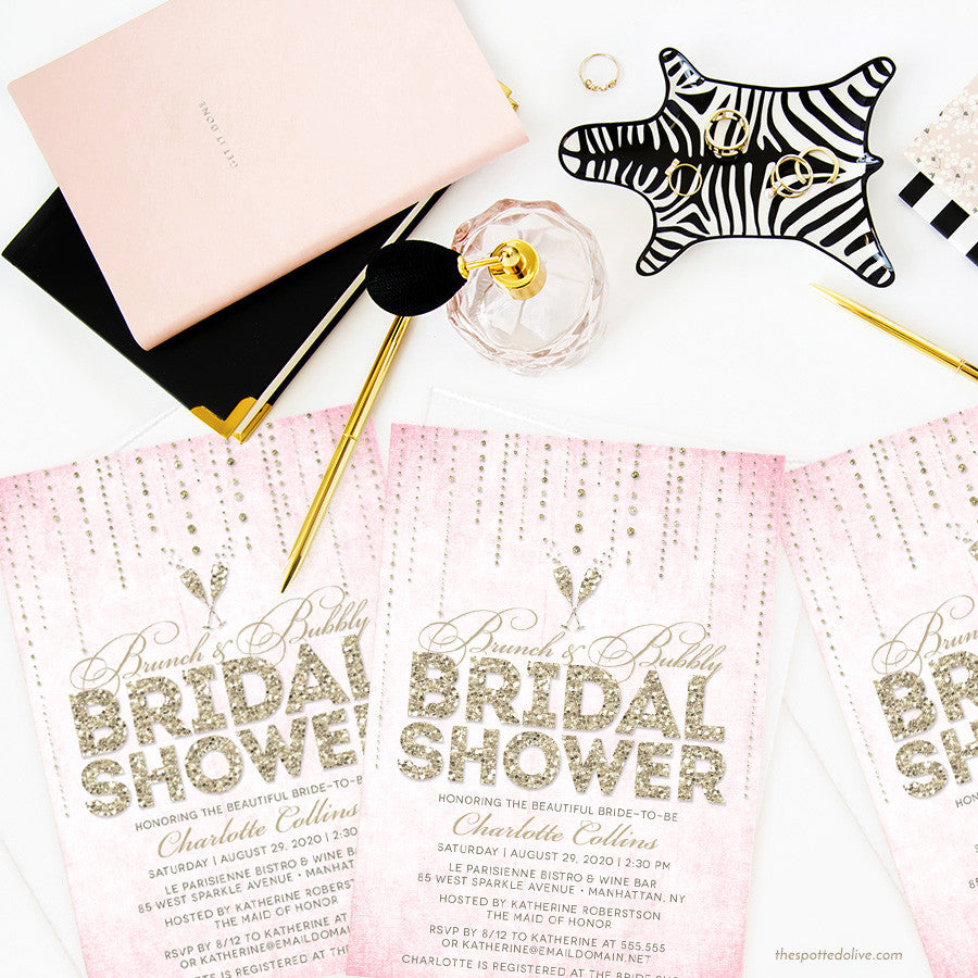 Pink & Gold Streaming Gems Brunch & Bubbly Bridal Shower Invitations by The Spotted Olive - Scene