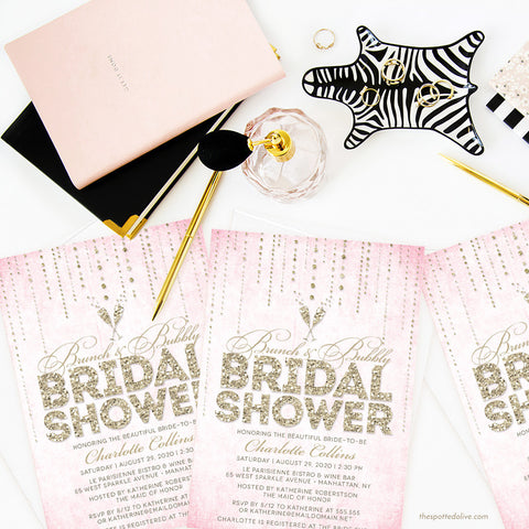 Pink & Gold Streaming Gems Brunch & Bubbly Bridal Shower Invitations