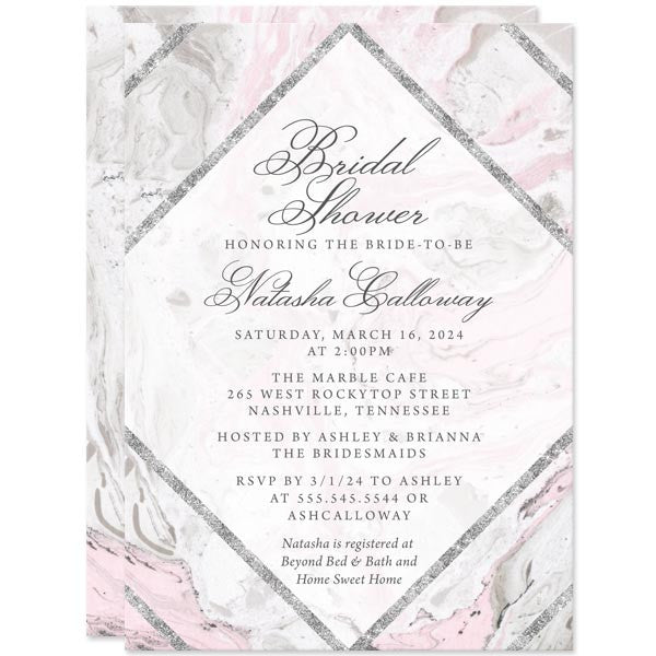 pink gray marble bridal shower invitations by the spotted olive