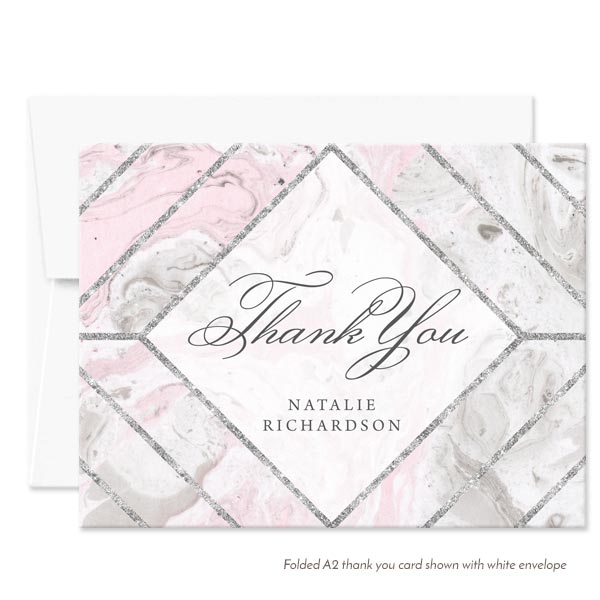 pink gray marble personalized thank you cards by the spotted olive white envelope - Personalized Thank You Cards