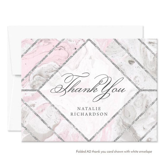 Pink & Gray Marble Personalized Thank You Cards by The Spotted Olive - White Envelope