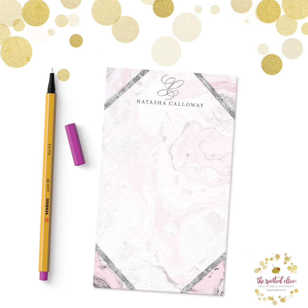 Pink & Gray Marble Personalized Notepads by The Spotted Olive - Branded