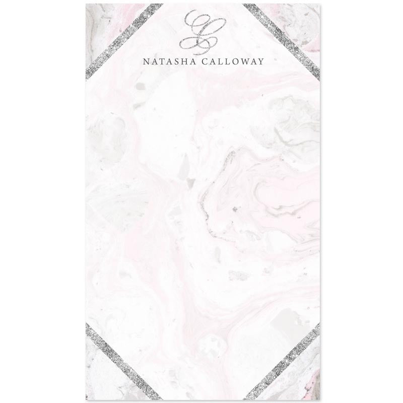 Pink & Gray Marble Personalized Notepads by The Spotted Olive