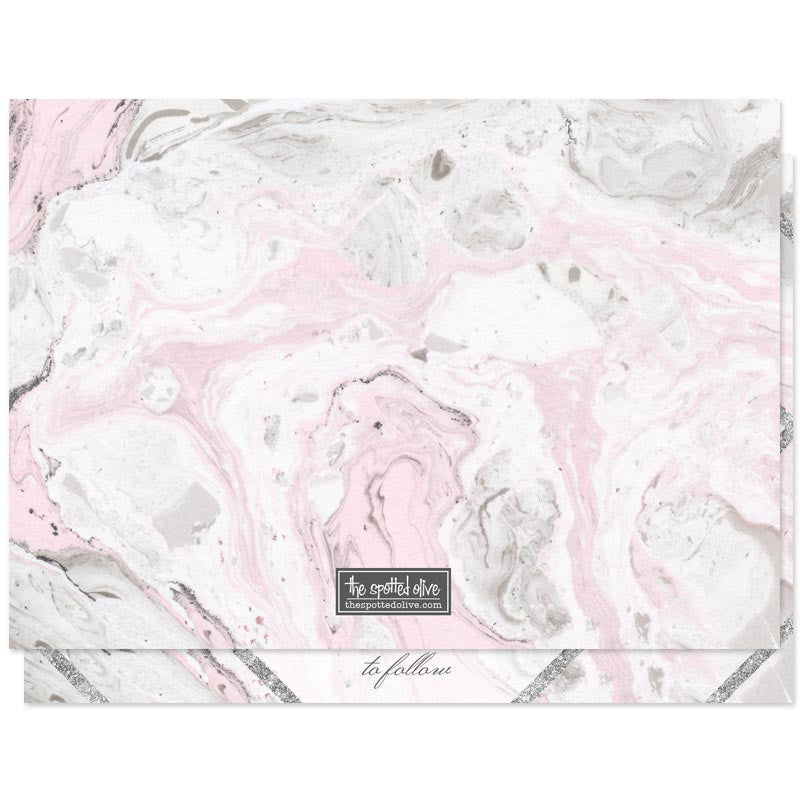 Pink & Gray Marble Save The Date Cards by The Spotted Olive - Back