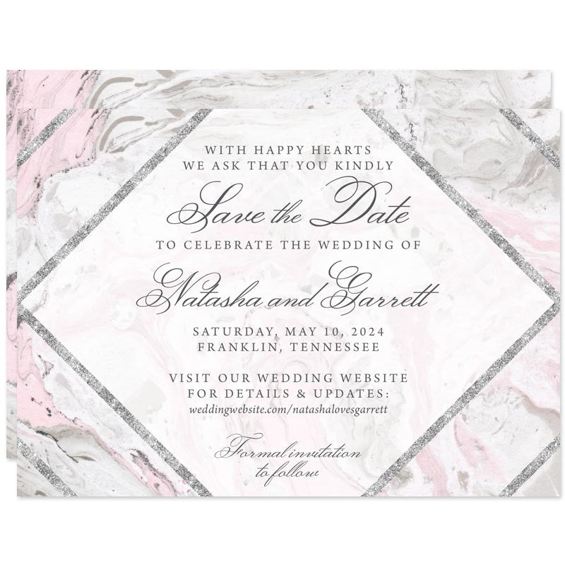 Pink & Gray Marble Save The Date Cards by The Spotted Olive
