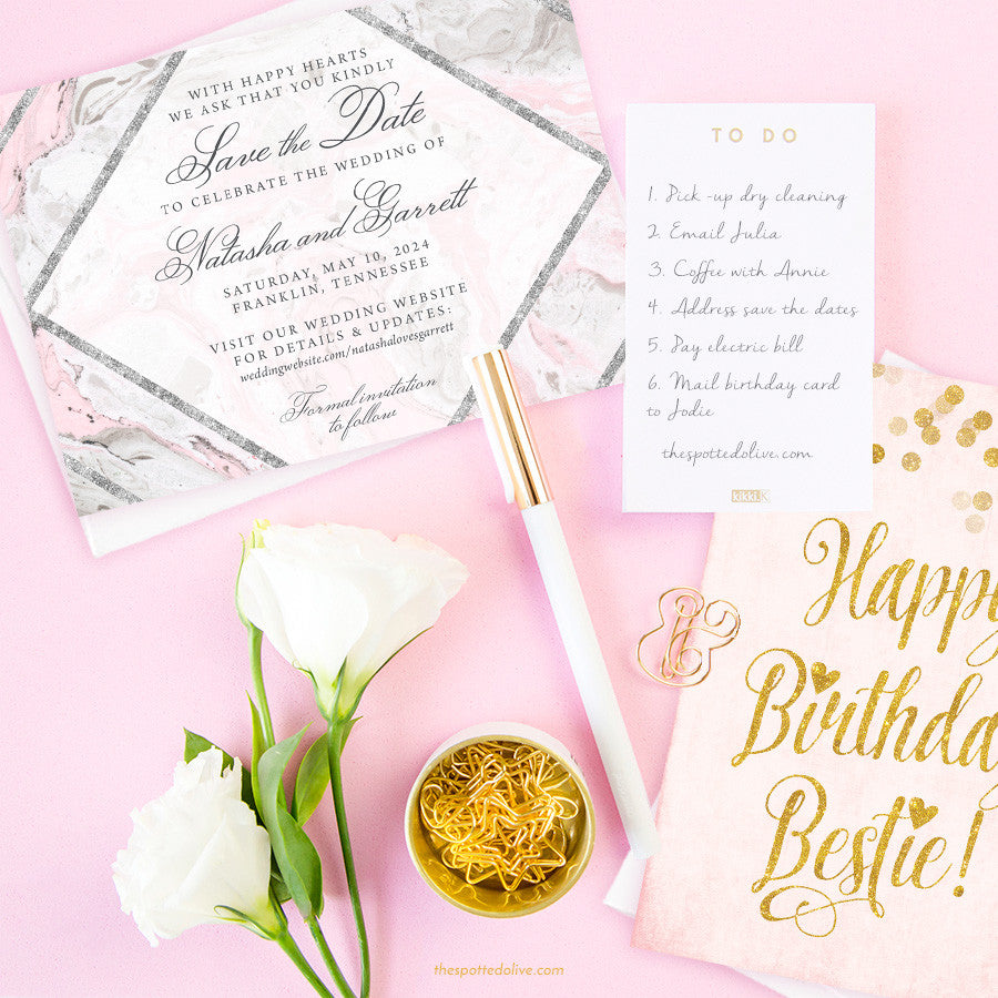 Pink & Gray Marble Save The Date Cards by The Spotted Olive - Scene