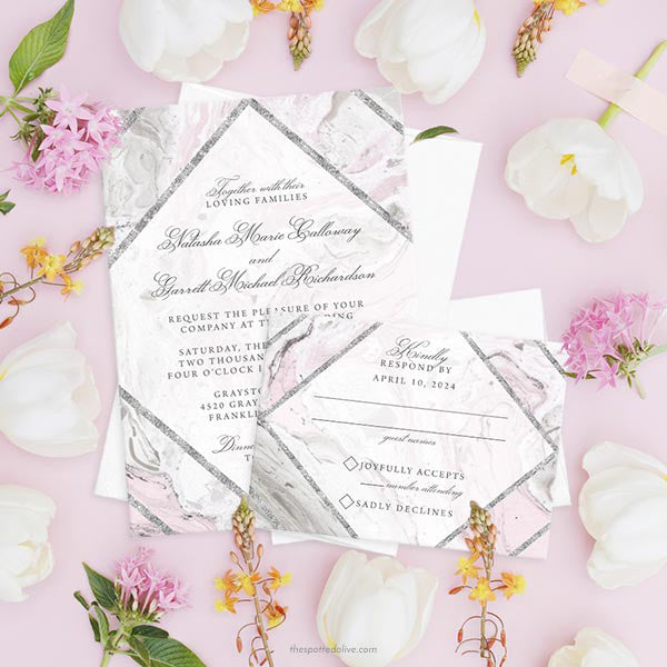 Pink & Gray Marble Wedding Invitations by The Spotted Olive - Scene