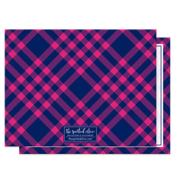 Pink & Navy Plaid Personalized Note Cards by The Spotted Olive - back