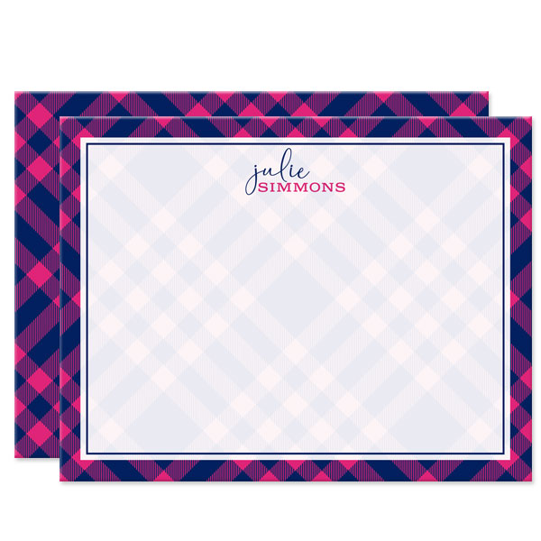 Pink & Navy Plaid Personalized Note Cards by The Spotted Olive
