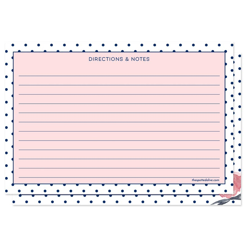 Pink & Navy Polka Dots Personalized Recipe Cards by The Spotted Olive - Back