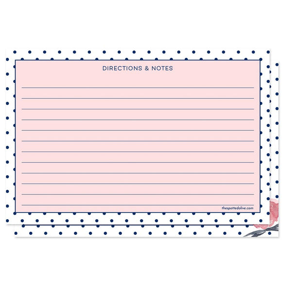 Pink & Navy Polka Dots Personalized Recipe Cards by The Spotted Olive