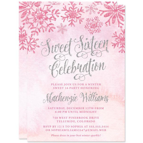 Pink & Silver Snowflakes Sweet 16 Invitations by The Spotted Olive