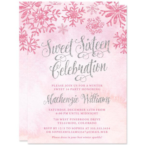 Pink & Silver Snowflakes Sweet 16 Invitatations by The Spotted Olive