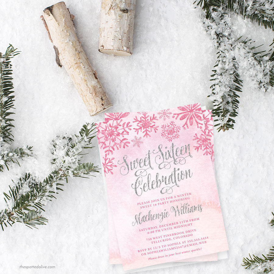 Pink & Silver Snowflakes Sweet 16 Invitations by The Spotted Olive - Scene