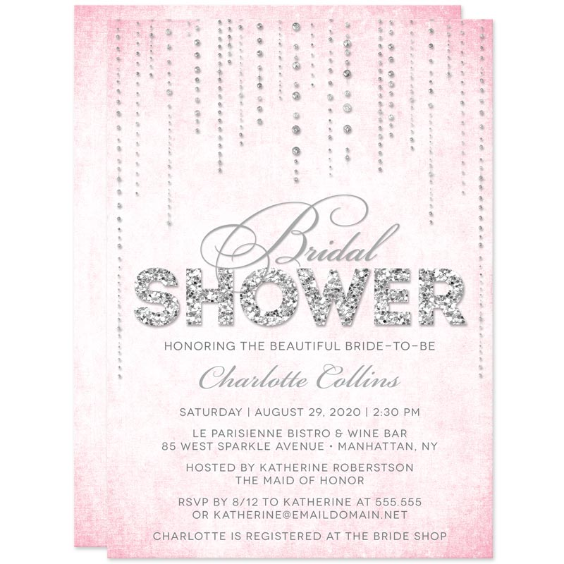 pink silver streaming gems bridal shower invitations the spotted