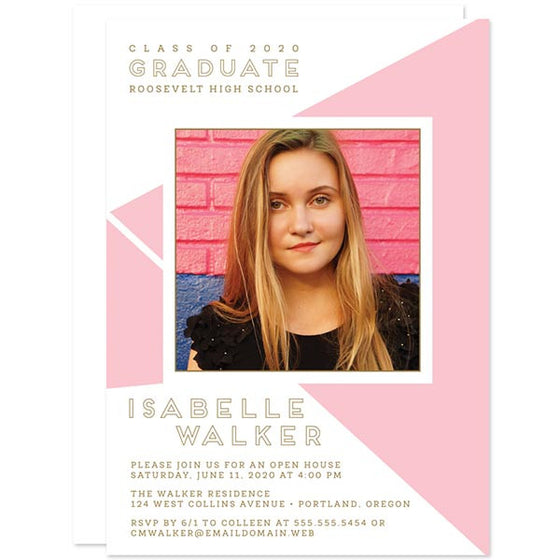 Pink Geometric Graduation Announcements - Class of 2016