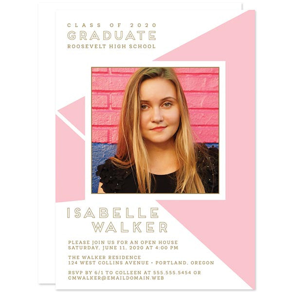 Pink Geometric Photo Graduation Announcements by The Spotted Olive