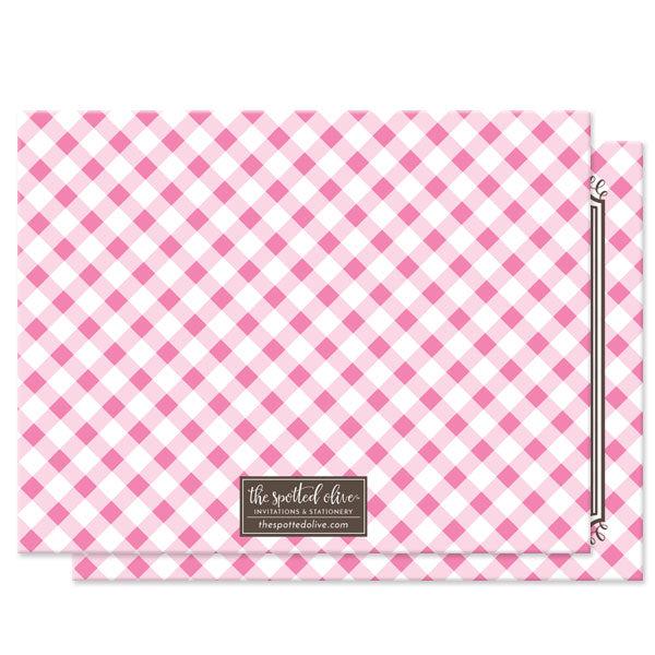 Pink Gingham Personalized Note Cards by The Spotted Olive - back