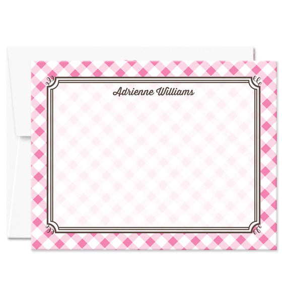 Pink Gingham Personalized Note Cards by The Spotted Olive - with envelope