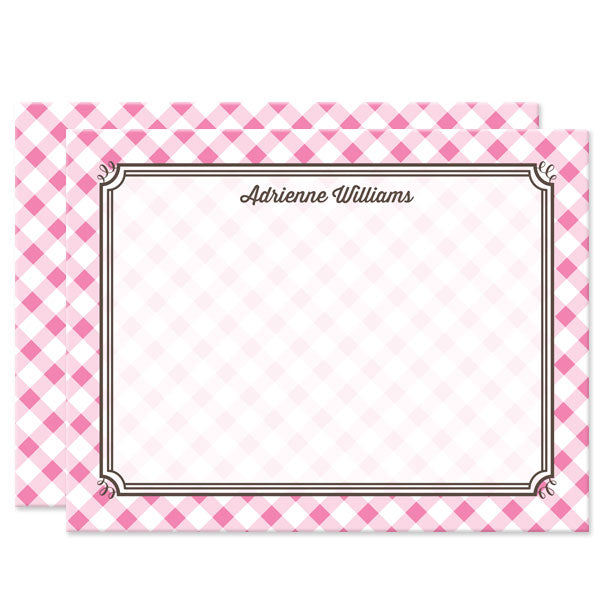 Pink Gingham Personalized Note Cards by The Spotted Olive