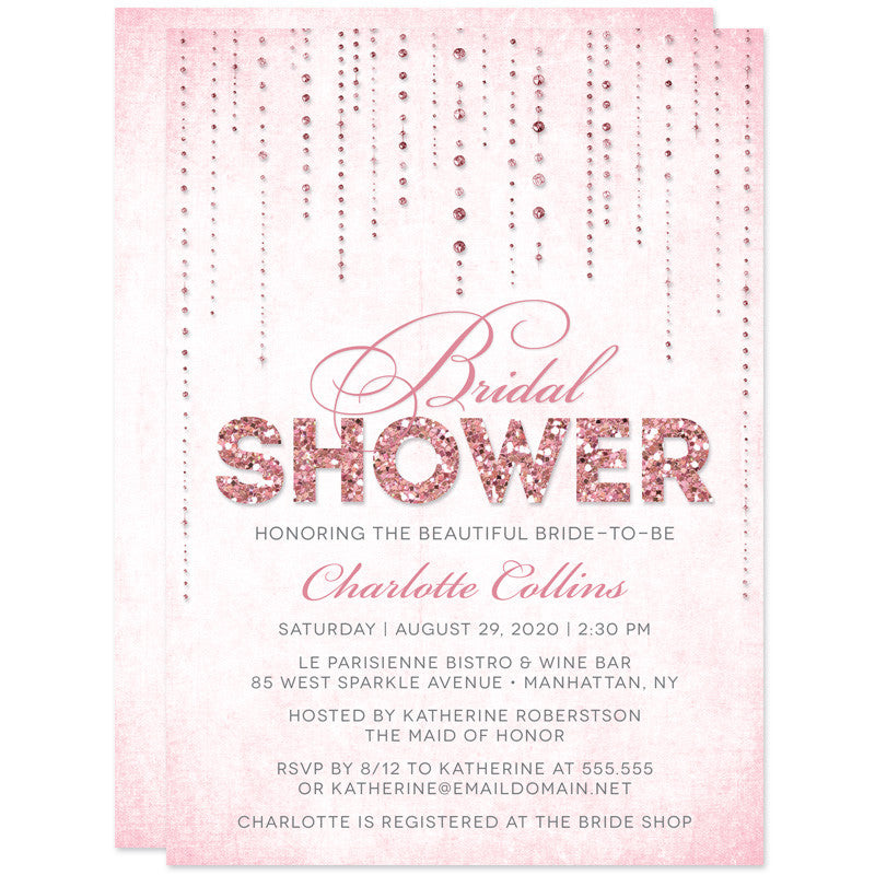 Pink gold streaming gems bridal shower invitations the spotted pink glitter look streaming gems bridal shower invitations filmwisefo