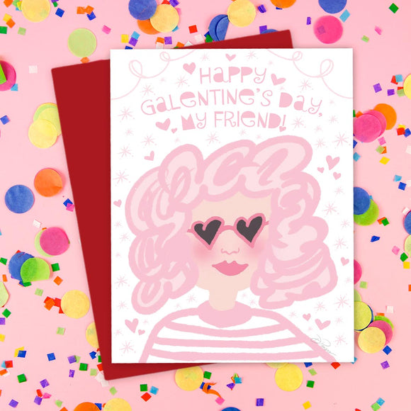Galentine's Day Card - Pink Lady