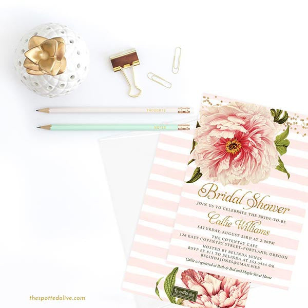 Pink Peony Bridal Shower Invitations by The Spotted Olive - Scene