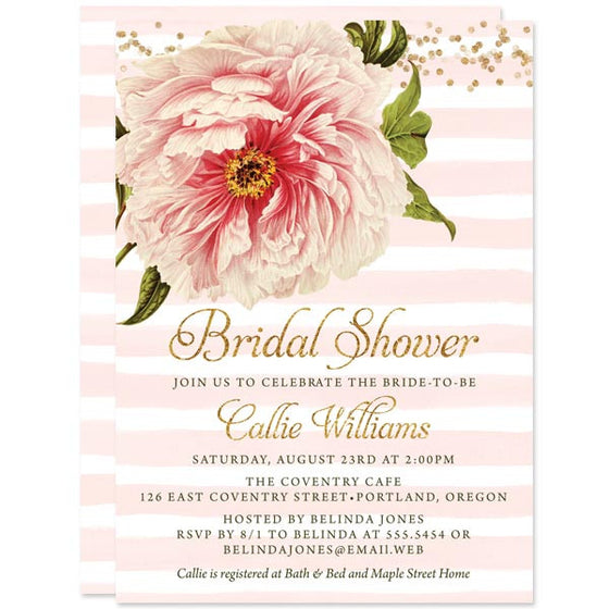 Pink Peony Bridal Shower Invitations by The Spotted Olive