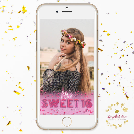 Pink Retro Glow Sweet 16 Personalized Snapchat Geofilter by The Spotted Olive