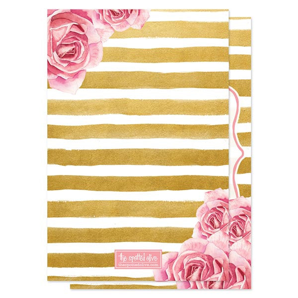 Pink Roses & Gold Stripes Bridal Shower Invitations by The Spotted Olive - back