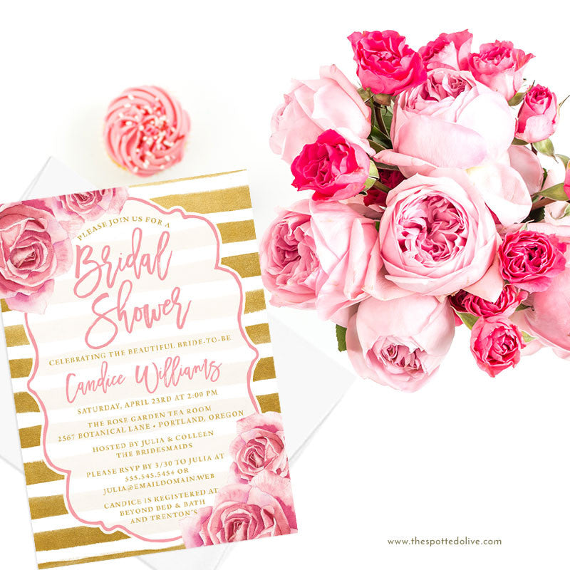 Pink Roses & Gold Stripes Bridal Shower Invitations by The Spotted Olive - Scene