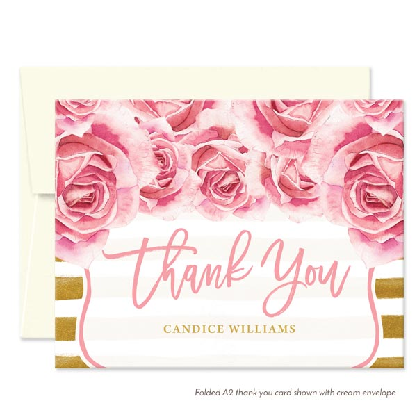 Pink Roses & Gold Stripes Personalized Thank You Cards By The Spotted Olive - Cream Envelope