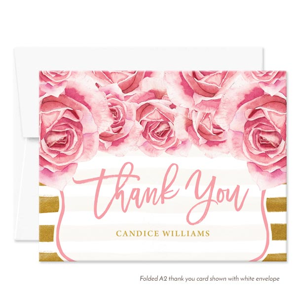 Pink Roses & Gold Stripes Personalized Thank You Cards By The Spotted Olive - White Envelope
