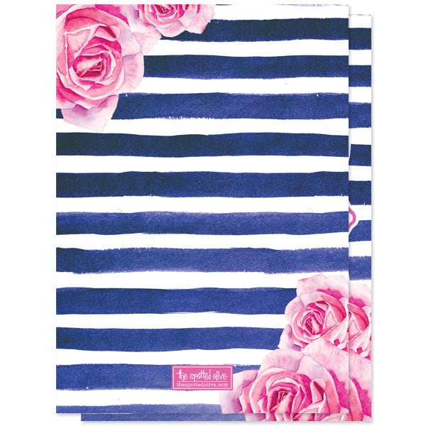 Bridal Shower Invitations - Pink Roses & Navy Stripes