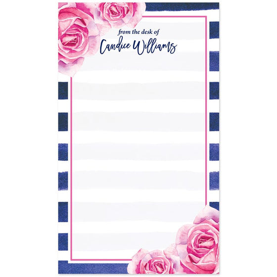Pink Roses & Navy Stripes Personalized Notepads