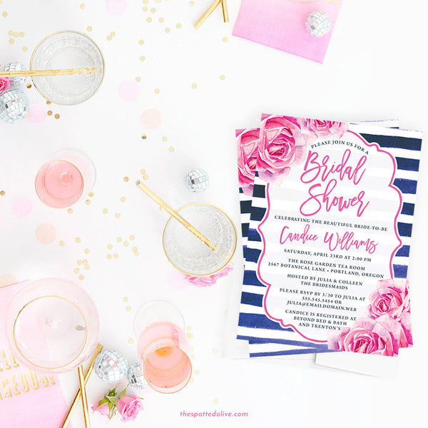 Pink Roses & Navy Stripes Bridal Shower Invitations by The Spotted Olive