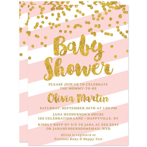 Baby Shower Invitations - Blush Pink Stripes & Gold Glitter Confetti - The Spotted Olive