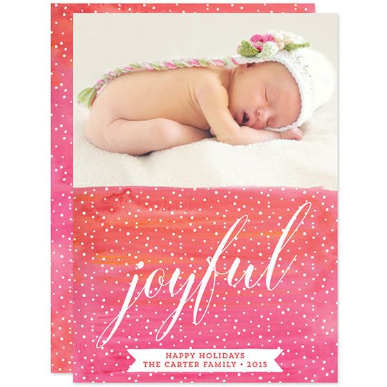 Pink Watercolor Joyful Christmas Photo Cards by The Spotted Olive