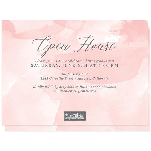 Pink Watercolor Splash Photo Graduation Announcements by The Spotted Olive - Back