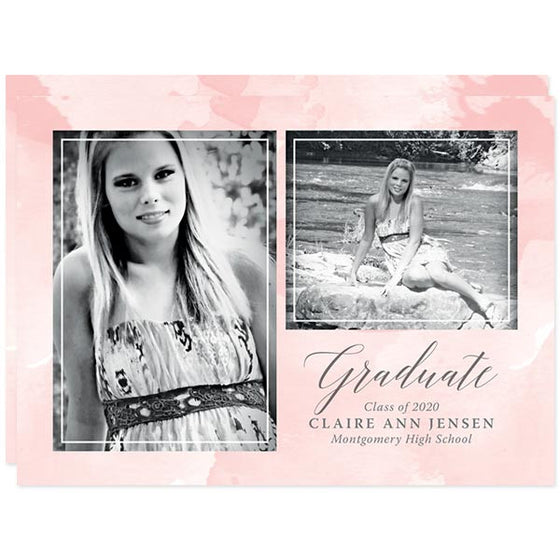 Pink Watercolor Splash Photo Graduation Announcements by The Spotted Olive