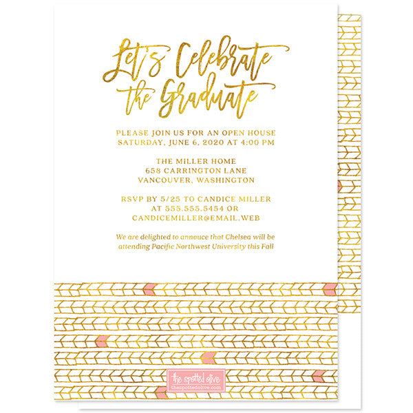 Pink & Gold Tribal Arrows Photo Graduation Announcements by The Spotted Olive - Back