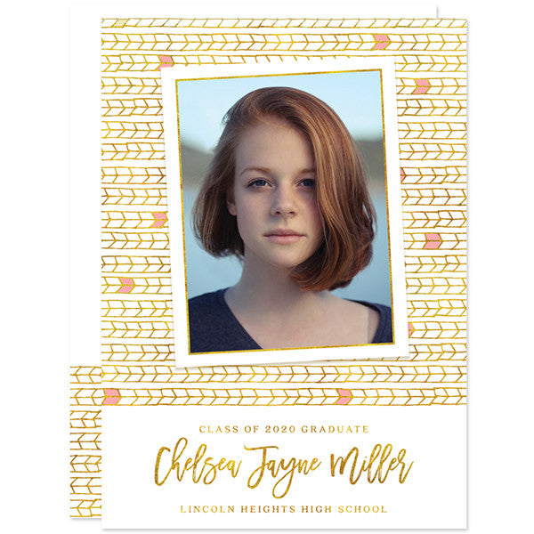 Pink & Gold Tribal Arrows Photo Graduation Announcements by The Spotted Olive