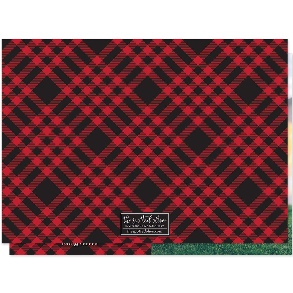 Plaid Happy Howlidays Holiday Photo Cards by The Spotted Olive - Back