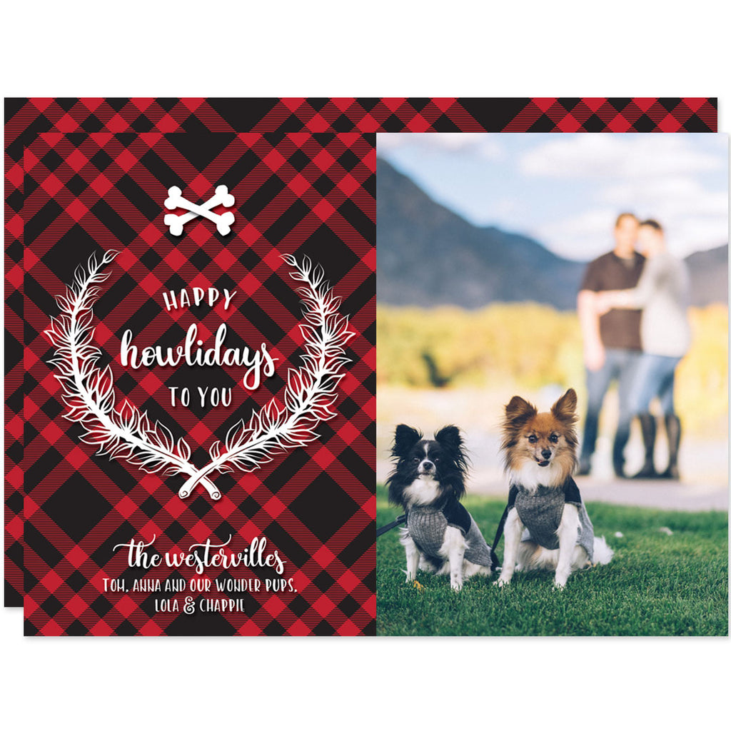 Plaid Happy Howlidays Holiday Photo Cards by The Spotted Olive