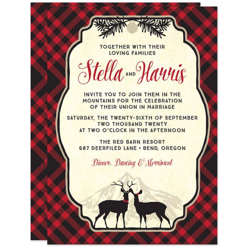 Wedding Invitations Red Black Buffalo Check The Spotted Olive